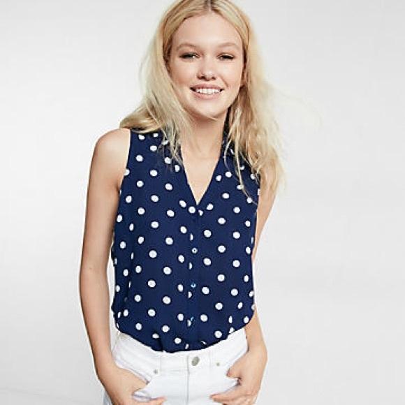 70d7fb15974f1 Express Tops - Polka Dot Express Portofino sleeveless blouse